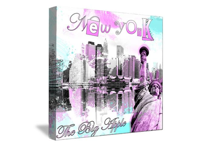 Toile dcoration wild pink de new york with tableau deco - Tableau deco chambre ado ...