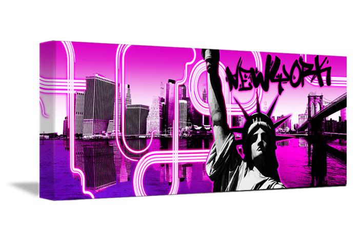 Une toile fushia panoramique de la libert pour vos murs for Decoration murale new york