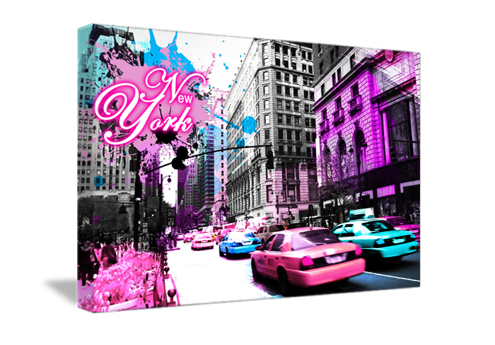 Toile d coration street pink de new york b12 tableau - Decoration chambre new york ...